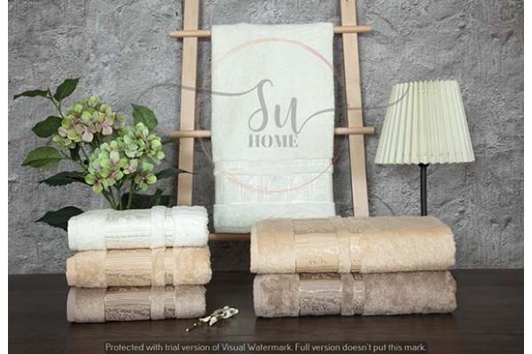 Bambu 3'lü Havlu Seti Ağaç Desen Bej Rengi 50x90