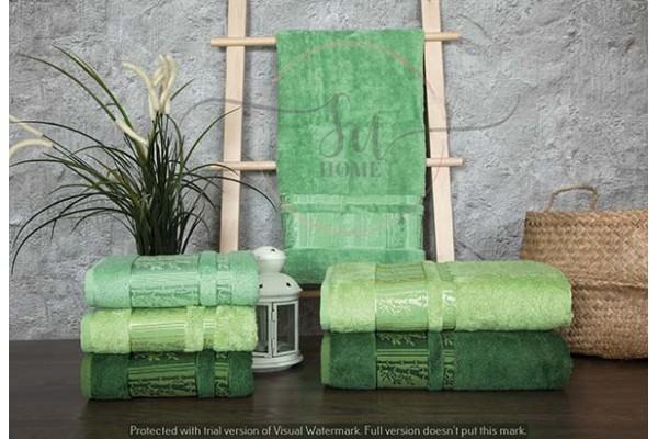 Bambu 3'lü Havlu Seti Ağaç Desen Yeşil 50x90