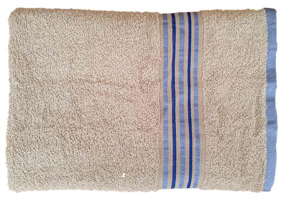 Gökkuşağı Düz Çizgili 70x140 Bej Banyo Havlusu
