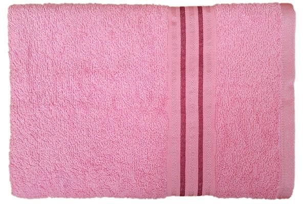 Gökkuşağı Düz Çizgili 70x140 Pembe Banyo Havlusu