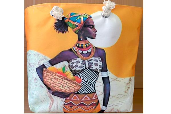 Afrikalı Kadın Turuncu Çanta