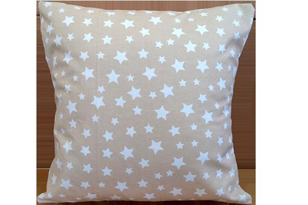 Dekoratif Yastık Yıldız Desenli Bej Kırlent