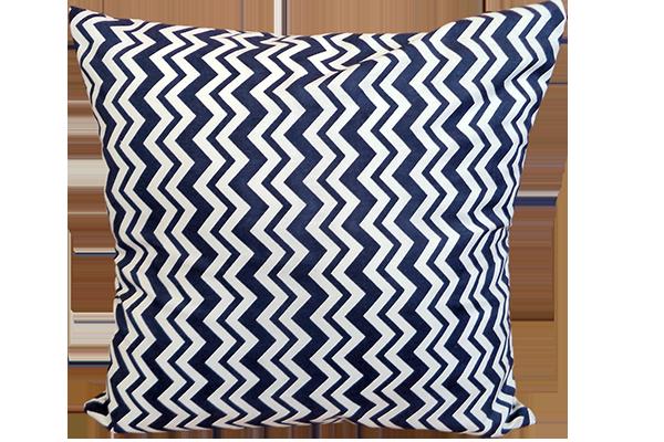 Dekoratif Yastık Zigzag Desenli Lacivert Kırlent