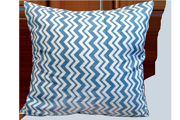Dekoratif Yastık Zigzag Desenli Mavi Kırlent