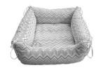 Kedi Köpek Yatağı Zigzag Desen Gri