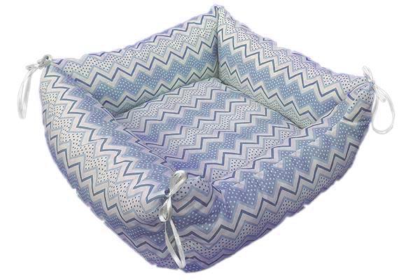 Kedi Köpek Yatağı Zigzag Desen Mavi