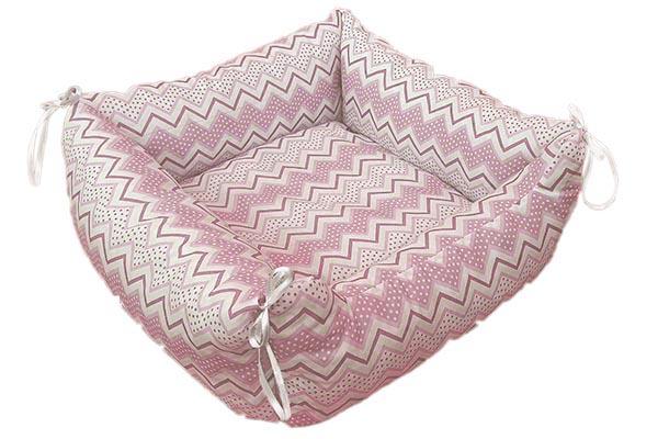 Kedi Köpek Yatağı Zigzag Desen Pembe