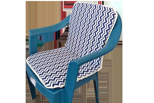 Sandalye Minderi Zigzag Lacivert