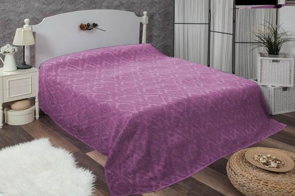 Çift kişilik damask fuşya havlu yatak örtüsü