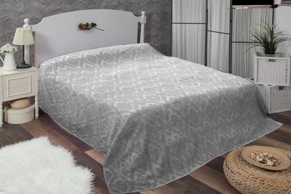 Çift kişilik damask gri havlu yatak örtüsü