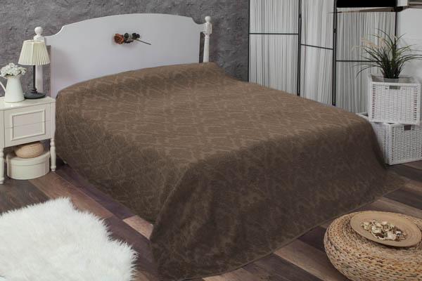Çift kişilik damask kahverengi havlu yatak örtüsü