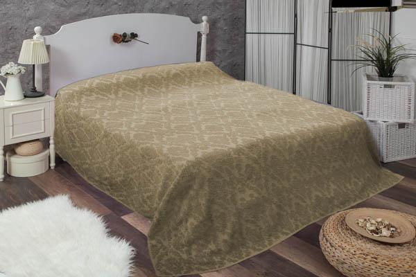 Çift kişilik damask koyu bej havlu yatak örtüsü