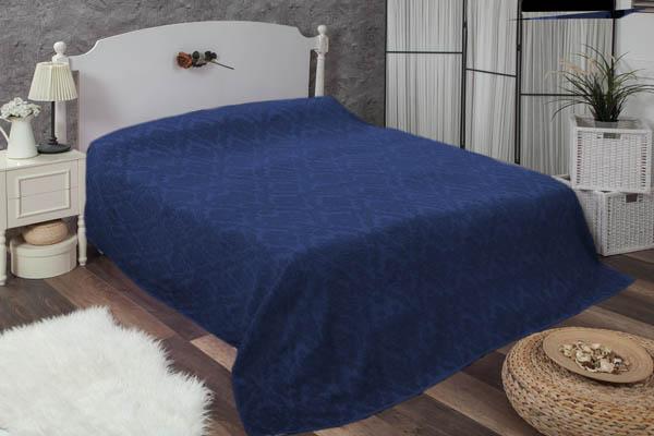 Çift kişilik damask lacivert havlu yatak örtüsü