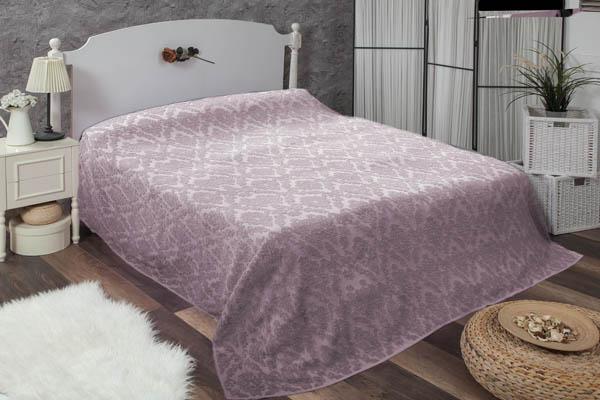 Çift kişilik damask lila havlu yatak örtüsü