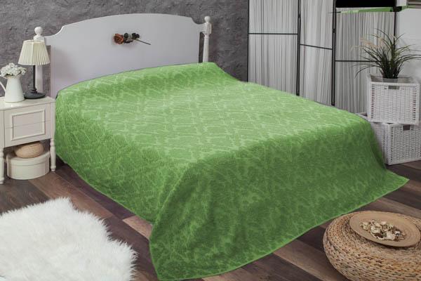 Çift kişilik damask yeşil havlu yatak örtüsü